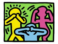 Pop Shop (See No Evil, Hear No Evil, Speak No Evil) reproduction procédé giclée par Keith Haring sur AllPosters.fr