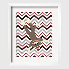 Sock Monkey Print Nursery Art Decor for Children Perfect for Nursery Playroom or toddler room 8x10