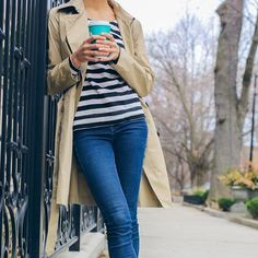 an ode to nautical-inspired stripes  new on thefoxandshe.com today | sign up for @liketoknow.it like this pic & get outfit details in your inbox www.liketk.it/2jKaT #liketkit #stripes #trenchcoat