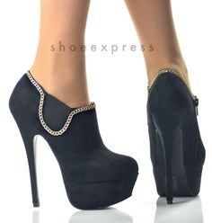 WOMENS NEW!!BLACK GOLD CHAIN HIGH HEEL ANKLE BOOTS SIZE UK2-7-EU35-40