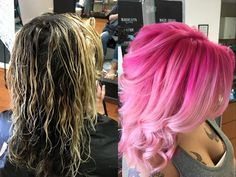 hot pink to pastel bubblegum pink rooty balayage ombre fashion color by Cheyenne Daniels in Redding, CA at Modern Muse Salon