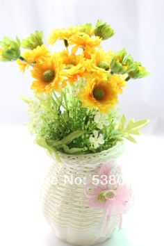 New 1  PCS Artificial  Silk Flower +white plastic vases  Gift  wedding home decorative flower  $13.89
