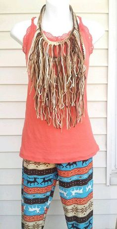 Ombre Brown Bohemian Fringe Necklace