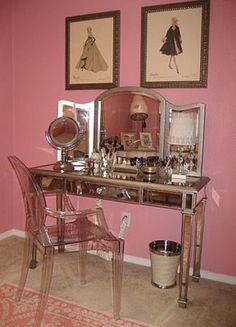 Vanity table & Chair! So Cute!