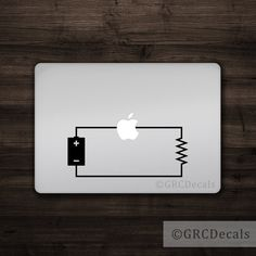 Circuit  Mac Apple Logo Cover Laptop Vinyl Decal by GRCDecals