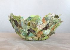 Lichen fabric bowl delicate round 7 x 3 green brown by Textility