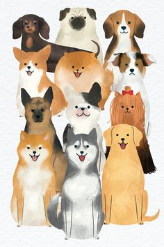 Friendly dog watercolor painting collection | premium image by rawpixel.com / nunny Cartoon Dog, Cartoon Drawings, Cute Labrador Puppies, Cute Dog Drawing, Animal Sketches, Dog Sketches, Dog Icon, Cute Animal Illustration, Image Cat