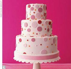 fondant cake design - pink circles