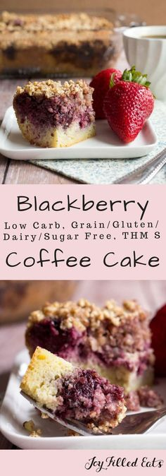 Blackberry Coffee Cake - Low Carb Grain Gluten Dairy & Sugar Free THM S - This Blackberry Coffee Cake is my new fave breakfast. It is moist & flavorful with a crunchy almond topping. It pairs nicely with berries & a cup of coffee. via - March 16 2019 at Sugar Free Desserts, Sugar Free Recipes, Low Carb Desserts, Healthy Desserts, Dessert Recipes, Dairy Free Gluten Free Desserts, Jello Desserts, Paleo Treats, Baking Desserts