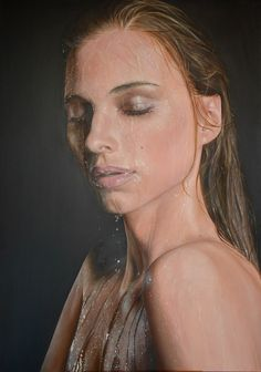Girl on a Dark Backgtound With Water (c) Piskunov Sergey Hyperrealism, Photorealism, Buy Art Online, Dark Backgrounds, Art Auction, Face Art, Figure Painting, Oil On Canvas, Painting Canvas
