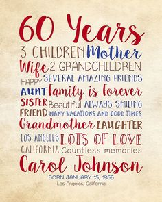 Birthday Gift For Mom 60th 60 Years Old Dad Mother In Law Moms Bday Idea Grandma