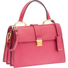 Miu Miu Top Handle ($2,040) ❤ liked on Polyvore featuring bags, handbags, bruyere pink, accessories handbags, top handle handbags, pink purse, red purse and pink leather handbag
