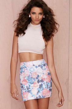 Nasty Gal Go with the Floral Metallic Skirt | Shop All at Nasty Gal