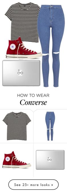 """Studying"" by fashongirl03 on Polyvore featuring Monki, Topshop and Converse"