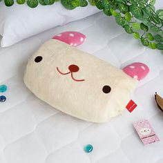 [Pink Rabbit] Fleece Throw Blanket Pillow Cushion / Travel Pillow Blanket (37 by 51.2 inches)