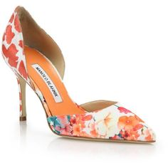 Manolo Blahnik Tayler Floral-Print D'Orsay Pumps ($785) ❤ liked on Polyvore featuring shoes, pumps, apparel & accessories, dorsay pump, manolo blahnik shoes, floral shoes, dorsay shoes and floral pumps