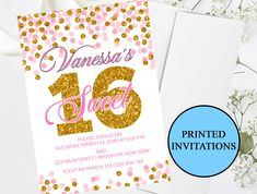 Pink Rose Gold Sweet 16 Invitation #75 | Printed Sweet 16 Invitations | 1.50 EACH | Sweet Sixteen Birthday Party | Glitter Confetti by PurplePaperGraphics on Etsy Sweet 16 Invitations, Party Invitations, Sixteenth Birthday, Glitter Confetti, Quinceanera Invitations, Sweet 16 Parties, Sweet Sixteen, White Envelopes, Printed