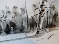 Original Watercolor Painting A Lonely Paper Birch by pinetreeart, $55.00