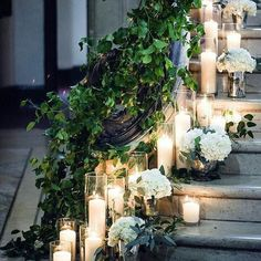 Staircase of dreams. There can never be to manu flowers or candles at a wedding right? #wedding #weddinginspiration #weddingplannig #weddingflowers #flowers #weddingdecor #bride #bridetobe #engaged #love #inspiration #bridal #ido #weddingday