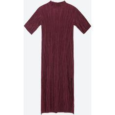 Zara Pleated Dress (498.830 IDR) ❤ liked on Polyvore featuring dresses, maroon, purple pleated dress, zara dresses, pleated dress, purple dress and maroon dress