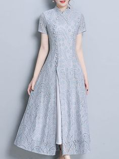 Stand Collar Short Sleeve Guipure lace Plain Green Midi Dress - Real Time - Diet, Exercise, Fitness, Finance You for Healthy articles ideas Kurti Neck Designs, Dress Neck Designs, Kurti Designs Party Wear, Designs For Dresses, Blouse Designs, Plain Kurti Designs, Stylish Dresses, Nice Dresses, Casual Dresses