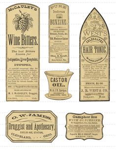 Digital Download Collage Sheet Antique 1800's Vintage Druggists Apothecary Pharmacy Labels Altered Art Tonic Oil (107). via Etsy.