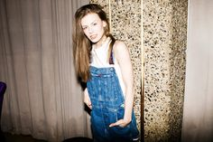 Anna Wihlke wearing Tommy Hilfiger 80's dungarees with reworked white t-shirt