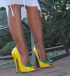 Super hot yellow open toe pumps filled with gorgeous, sheer nylon encased, feet and toes. Sexy High Heels, Extreme High Heels, Beautiful High Heels, Super High Heels, Sexy Legs And Heels, Hot Heels, Lace Up Heels, High Heels Stilettos, High Heel Boots