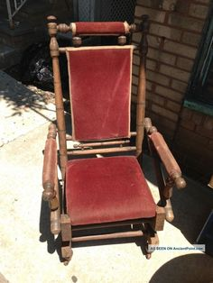 Antique Vintage Platform Rocker, Spring Rocking Chair Primitive Steampunk  Era Unknown Photo