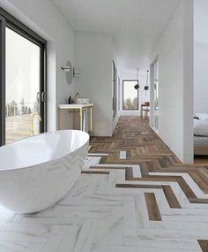 Modern, neutral bathroom with freestanding bath and herringbone floor, herringbone wood floor and ma Modern Bathroom Design, Bathroom Interior Design, Marble Interior, Modern Bathrooms, Bath Design, Bathroom Furniture Design, Farmhouse Bathrooms, Master Bathrooms, Dream Bathrooms