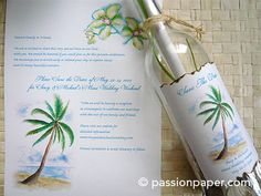 palm tree  message in a bottle invitations