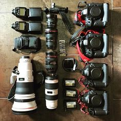 Love this #gear prep ☺️ #flatlay shoto by @jadeysportsimages Tag a photographer who needs at least one backup camera #canon #camera #lenses #eos1dx