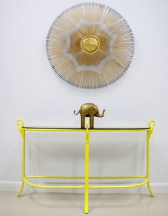 Fabulous Vintage Hollywood Regency Bright Yellow Swan Console or Sofa Table