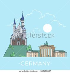 Germany country design template. Linear Flat famous historic sight; cartoon style web site vector illustration. World travel and showplace in Europe. European vacation collection