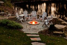 Beautiful #outdoor #yard with an underground #fireplace