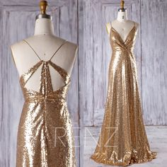 "2017 Gold Sequin Bridesmaid Dress, Sexy V Neck Wedding Dress, Spaghetti Straps Prom Dress, Metallic Sparkle Ball Gown Floor Length (HQ398) by RenzRags on Etsy <a href=""https://www.etsy.com/listing/489925416/2017-gold-sequin-bridesmaid-dress-sexy-v"" rel=""nofollow"" target=""_blank"">www.etsy.com/...</a>"