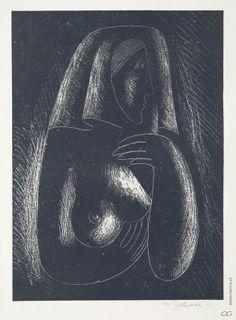 Mikuláš Galanda - Ženský poloakt v šatke, 1937