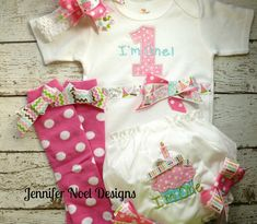 Girls First Birthday Outfit, Shirt or Onepiece, Bloomers, Hairbow, Headband, and Baby Legs, long or short sleeves