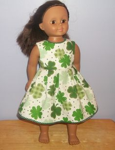 American Girl doll clothes handmade dress white with green Shamrocks or Clovers by sue18inchdollclothes on Etsy