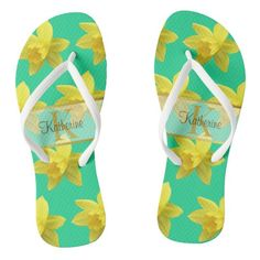 #ad springflowers #personalized #customizable Sea Foam, Daffodils, Flip Flops, Monogram, Slip On, Sandals, Yellow, Green, Prints
