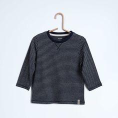 Tee-shirt rayé détail de modestie au col                                                                                          rayé gris Petit garçon