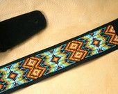 Ready to ship - FEATHER MOUNTAIN - Grey - Southwestern beaded guitar strap. $329.99, via Etsy.