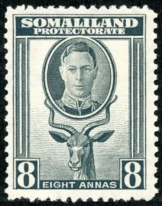 """1912 Scott 58 8a light blue & black """"George V""""  Quick History  The Somaliland Protectorate (British Somaliland) bordered on the Gulf of A..."""