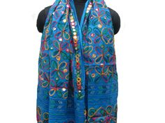 Embroidered scarf/ boho scarf/ multicolored scarf/ blue scarf/ cotton scarf/ large scarf gift scarf / gift ideas.