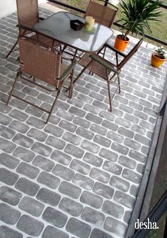 Fake Brick Patio Floor, so easy to do !mycrazywedding Fake Brick Patio Floor, so easy to do ! Decking on the home is the most remarkable interior architectural features. Painted Cement Patio, Painted Porch Floors, Porch Flooring, Brick Flooring, Plywood Floors, Painted Rug, Flooring Ideas, Floor Design, Patio Design