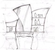 Эскиз будуарного столика#дизайн спальни#интерьер спальни#дизайн интерьера квартиры#дизайн-проект интерьера#дизайн интерьера в классическом стиле#эскизы интерьеров от руки# Искусство