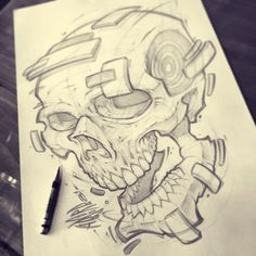 Sunday Scribbles! #skull #sketch #pencils #skeleton #tattoo #illustration #absorb81 #art