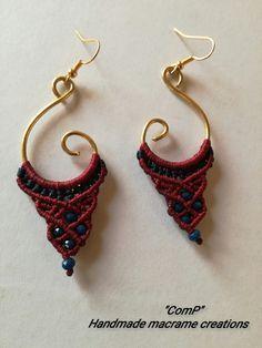 Handmade macrame earings ! Wire...beads..thread !love it <3