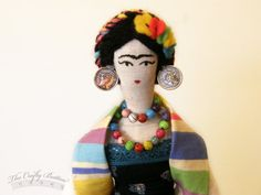 Frida Kahlo Doll  Art Doll  Cloth Doll  Rag par TheCraftyButtonUK