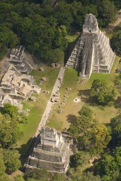 Mayan ruins, Tikal. Située au nord du Guatemala, la cité de Tikal était la capitale d'un des royaumes mayas les plus puissants. Construit pas Teotihuacan au IVe siècle, le site a été un lieu important jusqu'au Xe siècle. Il fut ensuite progressivement abandonné.
